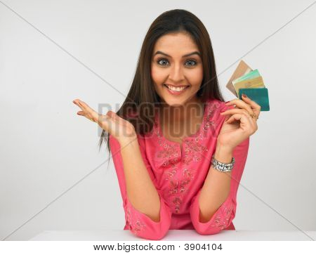 Young Asian Woman With A Credit Cards