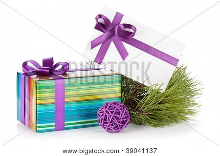 Christmas gift box, letter, fir tree and decor. Isolated on white background