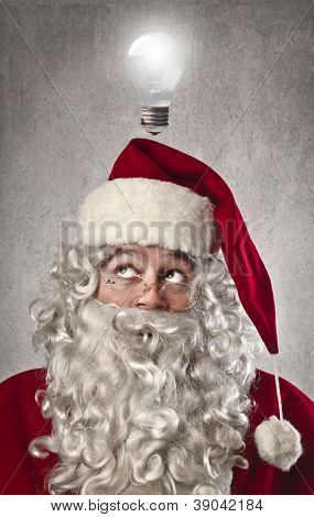 Santa Claus having an idea