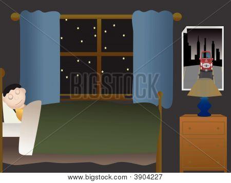 Boy Sleeping In Dark Bedroom Near Large Window