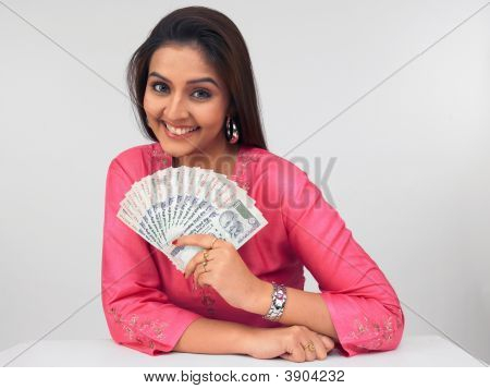 Young Asian Woman With Currency Notes