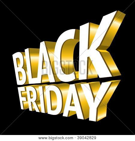 Black Friday 3d texto ouro
