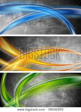 Abstract wavy grunge banners. Vector design eps 10