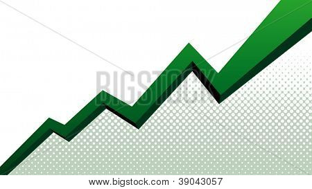 Green graph arrow move up vector background