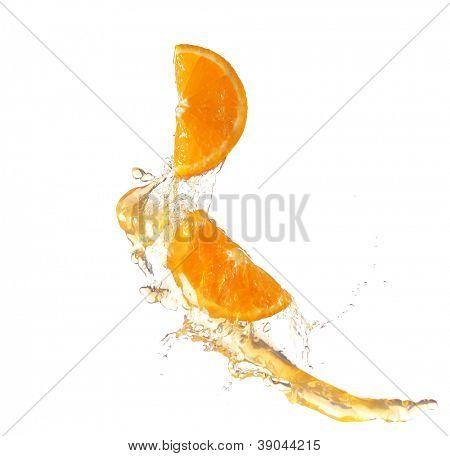orange slice in juice stream