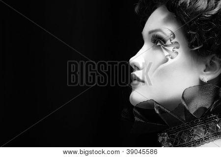 woman beautiful halloween vampire baroque aristocrat over black background