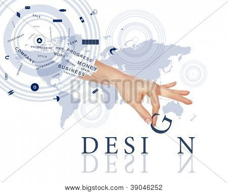 Business concept with hands and business words made up from letters
