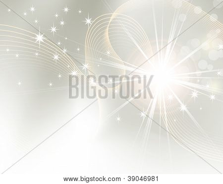 Light abstract background design - sunburst, starburst - festive Christmas template