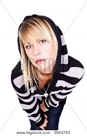 Beautiful Blonde Girl In Black And White Stripped Hooded Top