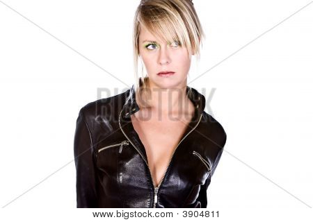 Blonde Girl In Leather Jacket