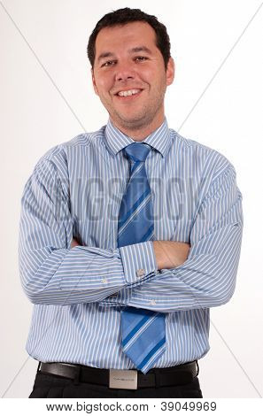 Man in his 30�?�¢??s wearing a blue stripped shirt and tie