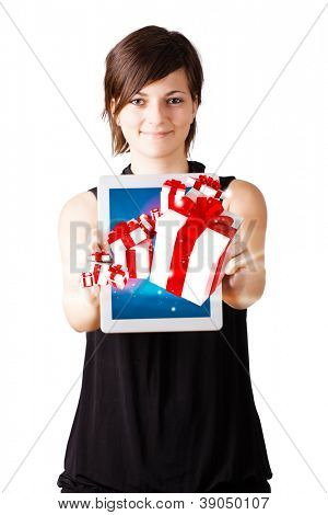 Young woman looking at modern tablet with social icons