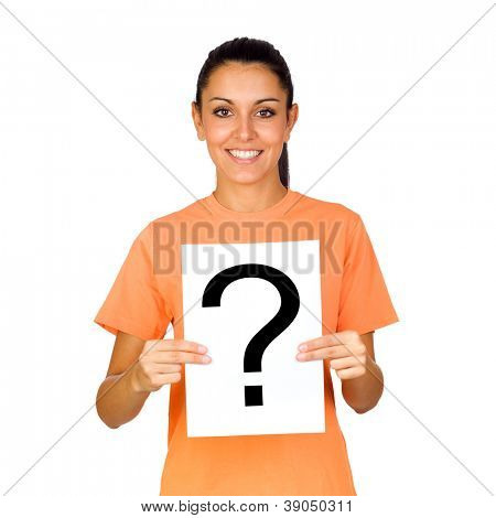 Girl Holding a Blank Paper with a Question Mark Isolated on White