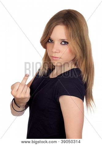Attractive aggressive woman making an insulting gesture isolated on white background