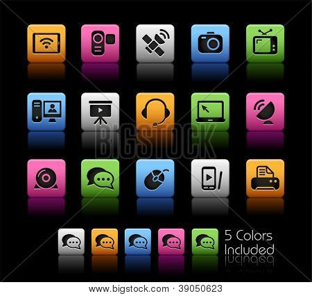 Communication Icons // Color Box------It includes 5 color versions for each icon in different layers ------