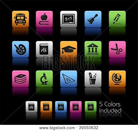 School & Education Icons // Color Box------It includes 5 color versions for each icon in different layers ------