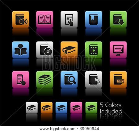 Book Icons // Color Box------It includes 5 color versions for each icon in different layers ------