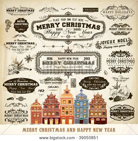 Christmas decoration collection | Set of calligraphic and typographic elements, frames, vintage labels. Ribbons, frames, mistletoe, fir cones, candles and winter town for old Xmas design.