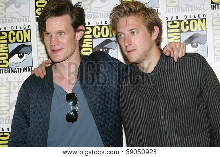 SAN DIEGO, CA - JULY 15: Matt Smith and Arthur Darvill arrive at the 2012 Comic Con convention press room at the Bayfront Hilton Hotel on Sunday, July 15, 2012 in San Diego, CA.