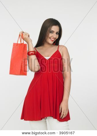 Asian Female With Her Shopping Bag