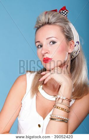Pin Up Girl Retro Style Portrait Blue Background