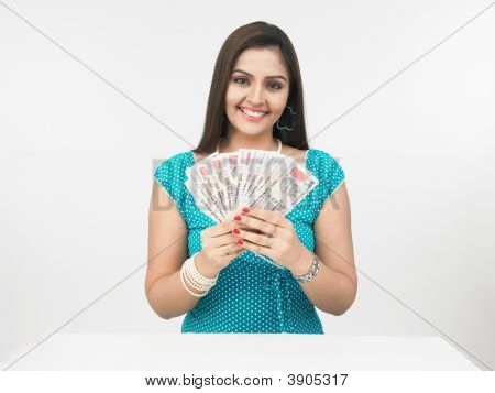 Asian Lady With Currency Notes