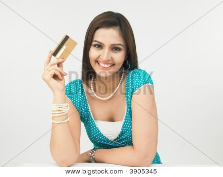Female With Her Credit Card