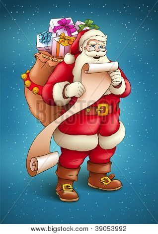 Santa Claus with sack full of gifts reading list of good kids. Vector illustration isolated on blue snow background EPS10.