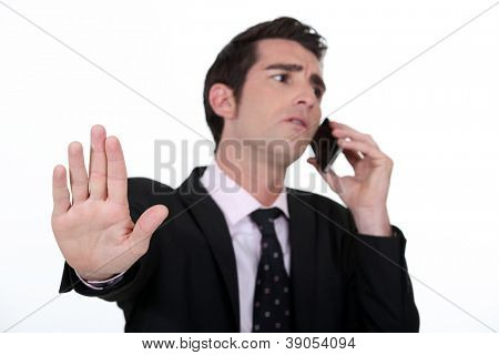 businessman receiving important call