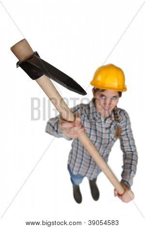 Woman with a pickaxe
