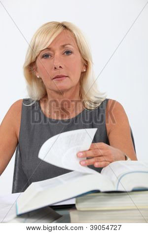 Female lawyer studying