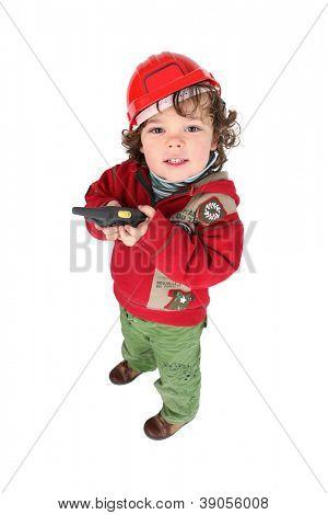 Toddler playing at construction
