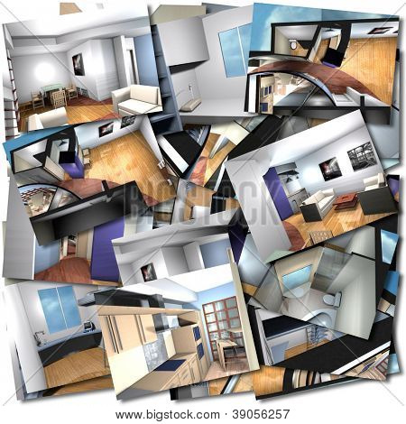 Collage with renderings of home interiors