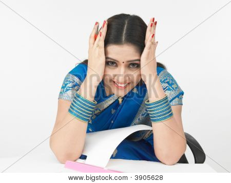 Woman Working Under Stress