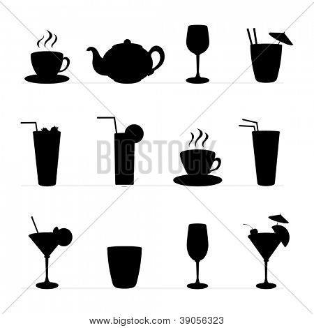Set of raster illustration of different drinks and cocktails,tableware. Black silhouette .