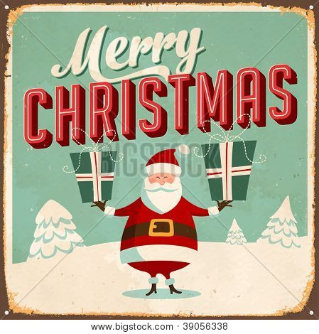 Vintage Metal Sign - Merry Christmas - JPG Version.