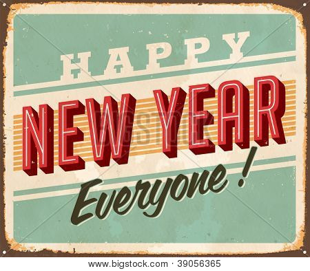 Vintage Metal Sign - Happy New Year Everyone! - JPG Version