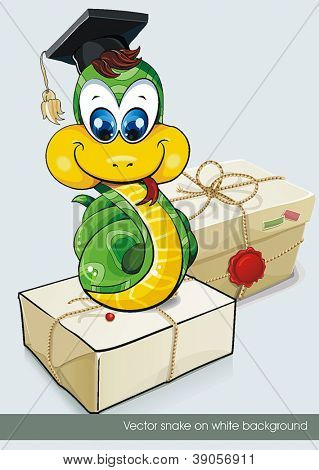 New Year Illustraiton of Cartoon Snake. Clipart vector illustration.