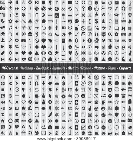 Set of 400 various icons symbols and design elements