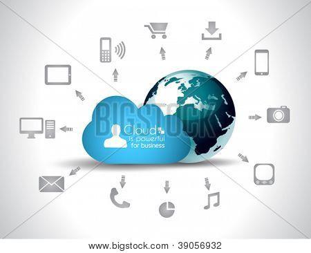 Cloud Computing concept achtergrond met heel wat pictogrammen: tablet, smartphone, computer, desktop, monit