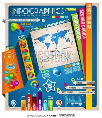 Infographic elements - set of paper tags, technology icons, graphs, paper tags, arrows, world map and so on. Ideal for statistic data display.