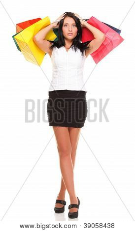 Full Length Of Happy Young Lady Shopping Bags Against Isolated