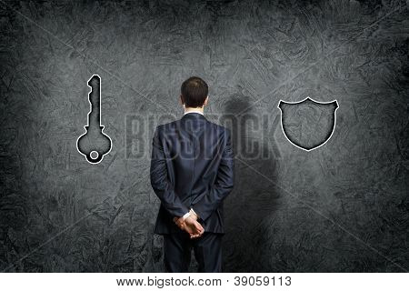 Businessman making a choice