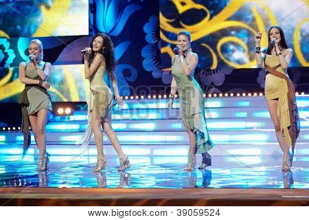 MOSCOW - NOV 30: Group Brilliants with premiere of song My dear on stage of  Russian beauty - 2011 contest, Nov 30, 2011, Moscow, Russia.