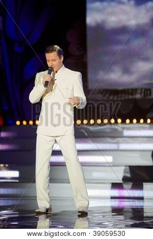 MOSCOW - NOV 30: Popular singer Vitas is in musical program on stage of  Russian beauty - 2011 contest, Nov 30, 2011, Moscow, Russia.