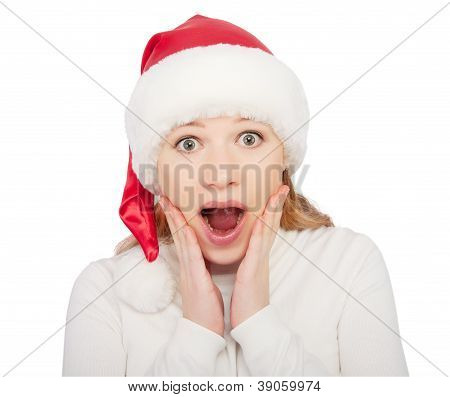 Christmas Woman In A Hat Shock, Surprise Isolated On White