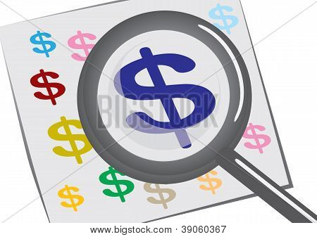 Magnifying Glass With A Dollar Sign