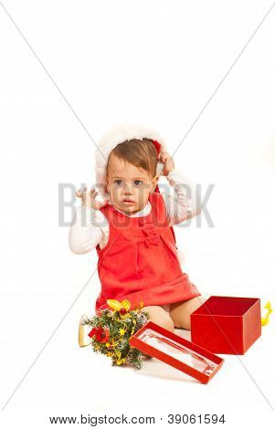 Toddler Girl With Christmas Gift
