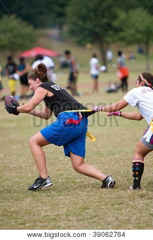 Female Flag Football Player Gets Grabbed By Defender