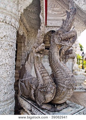 White Three Heads Naga Molding Art In Thai Style